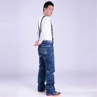 Wholesale New Hot Sales Ski Trousers Unique Casual Denim Suspenders Man Ski Jeans Waterproof Breathable Warm Skiing Ski Pants