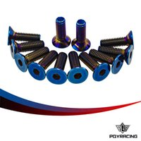 bell parts - PQY RACING PC Burnt Titanium Steering Wheel Bolts Fit a of steering wheel Works Bell Boss Kit PQY LS06T