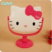 bathroom mirror white frame - Vanity Table Cute Cartoon Table Bathroom Vanity Mirrors Rotating Table Makeup Round Mirror White Pink Kitty set