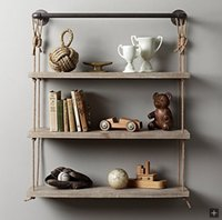 antique book shelf - Rope Shelf DIY Industrial Retro Wall Mount Book Shellf Pipe Shelf Storage Industrial Vintage Iron Pipe ThreeTier Metal Bathroom Shelf