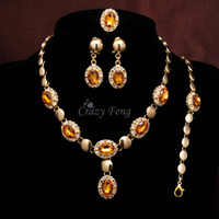 Wholesale 18K Gold Plated Nigerian Bridal Jewelry Set Luxury Champagne WaterDrop Earring Ring Bracelets Statement Necklace Sets For Women