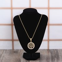 arriva pendant necklace - Tree of life pendant necklace alloy rhinestone charms gold plated chain necklaces for women men engagement jewelry gift new arriva