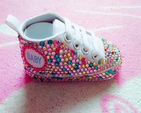 Wholesale Bling Handmade baby shoes colorful rhinestone Crystal Baby Girl s shoes handmade Bling diamond soft First Walkers shoes