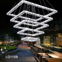 Wholesale Hot sale Diamond Square LED K9 Crystal Steel Chandelier Light Modern Lighting Fixture Pendant Lamp Hanging Lamp Guarantee Fast shipping