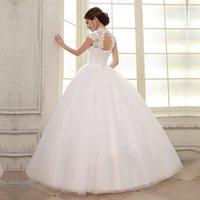 Wholesale 2016 double shoulder slim slit neckline bag lace strap married bride Wedding Dresses