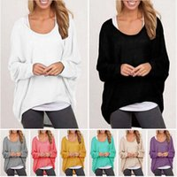 batwing jumper black - New Autumn and Winter Women Blouses Tops Loose Scoop Neck Long Sleeved Plus Size Blouses Shirts Jumper Batwing Loose Pullover Knit Sweater