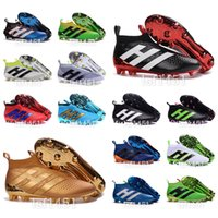 Wholesale 2016 New oriGINal mens high ankle fooTbaLls bOOTs ACE purECOntROl AG FG soccer shoes outdoor top no shoelaces purE COntROl sOcCEr cLEAts