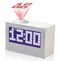 Wholesale LED Digital LED Projector Clock Black White For Home Decor Talking Rectangle Projection Alarm Clock