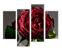Oil Painting beautiful roses pictures - LK4230 Panel Canvas Oil Paintings Red Rose With Drop Of Water Beautiful Flower Pictures On Canvas Oil Paintings Unframed Or Framed