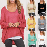 Wholesale New Arrivals Ladies Womens Tops Blouses T shirts Knit Sweater Cotton Two Piece Blend Baggy Jumper Batwing Loose Pullover DX260