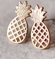 best friends cute - New Minimalist Women Decoration Pusety Cute Pineapple Stud Earrings Rose Gold Earrings Best Friend Fruit Jewelry Sell
