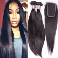 Cheap 2 Bundles Brazilian Straight Human Hair With 1 Lace Closure,Unprocessed Raw Hair Can be Dyed Can be bleached full cuticle-2