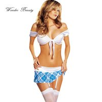 adult high school - Sexy School Girl Costume White Crop Top amp Skirt Sexy High School Girl Adult Fancy Dress Outfit Halloween