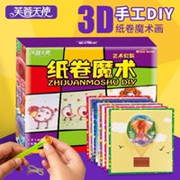 Wholesale Lotus Angel children DIY Yan paper painting art crafts roll baby suit paper puzzle magic toys