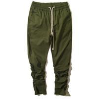 achat en gros de manchette zipper-Grossiste-Designer de marque Hommes Crotch Drop Sweatpants cheville fermeture à glissière Man Hip Hop Harem Pantalon élastique Cuff Joggers Hommes Pantalones
