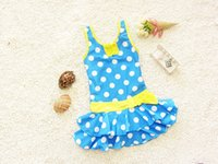 Cheap Girl Swim Wear One Piece Wwimsuit With Polka Dots Princess Ruffle Costume Children's Swimwear for the Pool Bathing Suit Kids
