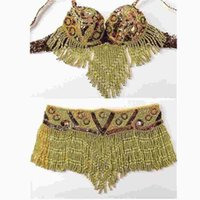 beaded bra tops - Gold silver Women Dancewear Performance Eastern Style Sequined Beaded Top Pieces Costumes for Belly Dance Bra and Belt Set
