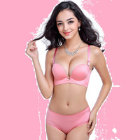 adjust a button - MOXIAN One Piece Seamless bra sets cleavage deep V gather adjustable bra body sculpting oil NB bags girls underwear size A B C cup