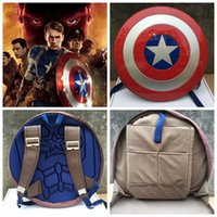 age shield - Captain America Shield Backpack Marvel Avengers Age of Ultron Captain America Shield Backpack Rucksack Bag Round PC Travel Bag KKA655