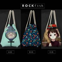Wholesale drawstring bags backpacks schoolbags children cat cartoon Canvas Pounch Staff bags d Street fashion shopping bags