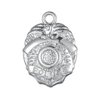 badge components - Religious a Zinc Alloy Floating Antique Silver Plated Police Badge Pendant Charms For Gift DIY Jewelry Findings Components