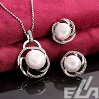 best jewellery design - Best Quality jewellery Platinum Plating design pearl jewelry sets necklace pendant earrings anillos gift for wife