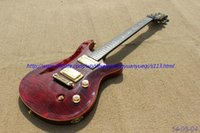 Wholesale New brand electric guitar see thru dark red gold parts with flame grain on body top