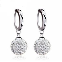 Wholesale Earrings S925 pure silver shambhala ball stud earrings lady delicate gifts free earrings box