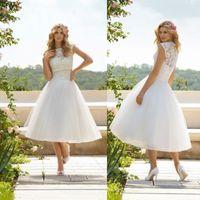 Wholesale Summer Sheer Jewel Neck Short Wedding Dresses A Line Lace Tea Length Wedding Dresses Puffy Tulle Skirt Beach Bridal Gowns Vestidos