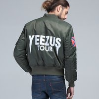 Stand Collar air tours - PLUS SIZE KANYE WEST YEEZUS tour pilot varsity military army yeezus flight air force BOMBER jacket winter Men s hip hop MA1 coat