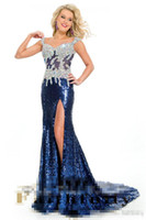 art time classics - Fashion Sequined and Beaded Sheer Bodice Formal Evening Gowns High Slit Straps Floor Length Party Time Prima Donna Pageant Gowns