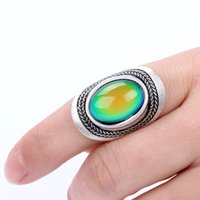 Wholesale Mojo Vintage Bohemia Retro Color Change Mood Ring Emotion Feeling Changeable Rings Temperature Control Ring for Women MJ RS020