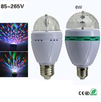 Wholesale Full Color E27 W RGB LED Crystal Stage Light Auto Rotating Lamp AC V Laser Disco DJ Party Holiday Dance bulb