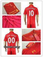 Wholesale 16 Soccer Jersey Uniforms Men Home red Soccer Kit MANE GERRARD COUTINHO FIRMINO BENTEKE STURRIDGE LALLANA etc Football Kit