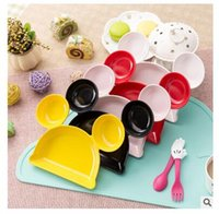Wholesale Mickey Head Dishes Cartoon tableware Snack Plate INS Feeding Bowl Baby Kids Dinner Plate Infant Placemat Kitchen tools Without Spoon