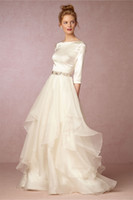 backless long sleeve tops - 2016 Fall Top Skirt Wedding Dresses BHLDN with Long Sleeves and V Back Soft Satin Tiered Organza Ivory Bridal Gowns Custom Made
