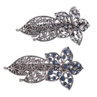 Wholesale Dark Blue Black Crystal Jewelry Restoring Ancient Ways Is Hollow out Mosaic Hairpin Rhinestone Hair Beauty Party Silver Headdress