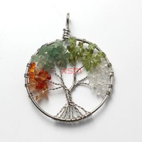 beaded tree necklace - Mode F main naturelle The tree of life crushed stone circle pendant
