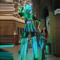 Wholesale New LED Luminous Stilt Women Robot Suit With LED Helmet Growing LED Light Kryoman Robot Stilt Costume Clothes For Women
