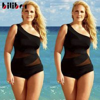 Wholesale XXXL Sexy Plus Size One Shoulder Swimsuit Black Mesh One Piece Swimsuit Maternity See Through One Piece Swimwear For Women