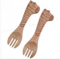 Wholesale Cute Zebra Pattern Wooden Animal Cutlery Set Wooden Fork for Children Baby