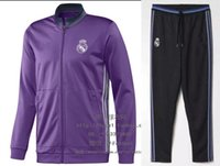 ball pants - 2016 Real Madrid soccer jacket football jacket outside long pants RONALDO BALL jacket
