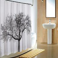 Wholesale 2016 European style Big Black Scenery Tree Design Bathroom Waterproof Fabric Shower Curtain AAACBP X180cm With Hooks
