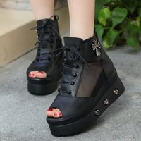 Wholesale 2016 new net yarn sandals women wedges han edition tide thick bottom fish mouth shoes help with sponge surface high heeled shoes in the spri