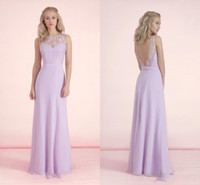 Wholesale Lilac Chiffon Long Bridesmaid Dresses Lace Top Bateau Sheer Neck Maid Of Honor Gowns Floor Length Wedding Guest Dresses Under BA2974