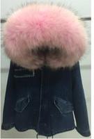 Wholesale New arrival Real Fox furs liner denim Jacket Ladies mini furs parkas hood with Raccoon fur collar