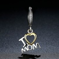 Wholesale 925 Sterling Silver Charm Beads Heart Love I LOVE MOM K Gold Plated fit Pandora Bracelets Original Design DIY Jewelry For Woman C049