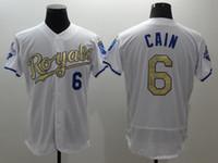 Wholesale Men s Kansas City Royals Lorenzo Cain White World Series Champions Gold Program FlexBase Player Jersey Cheap Baseball Shirts for Sale