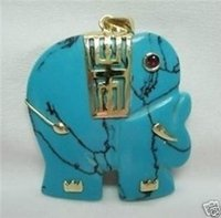 Cheap Free Shipping >>>Natural turquoise Jade Elephant Pendant Necklace