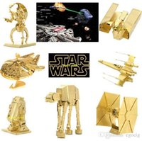 Wholesale HOT Star Wars Golden D Models Styles DIY Metallic Nano Puzzle no glue required For adult Chirstmas gift Free DHL TNT